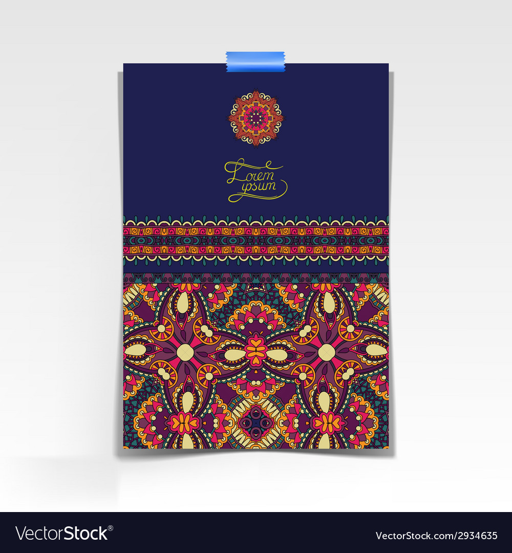 Decorative sheet of paper with oriental floral vector
