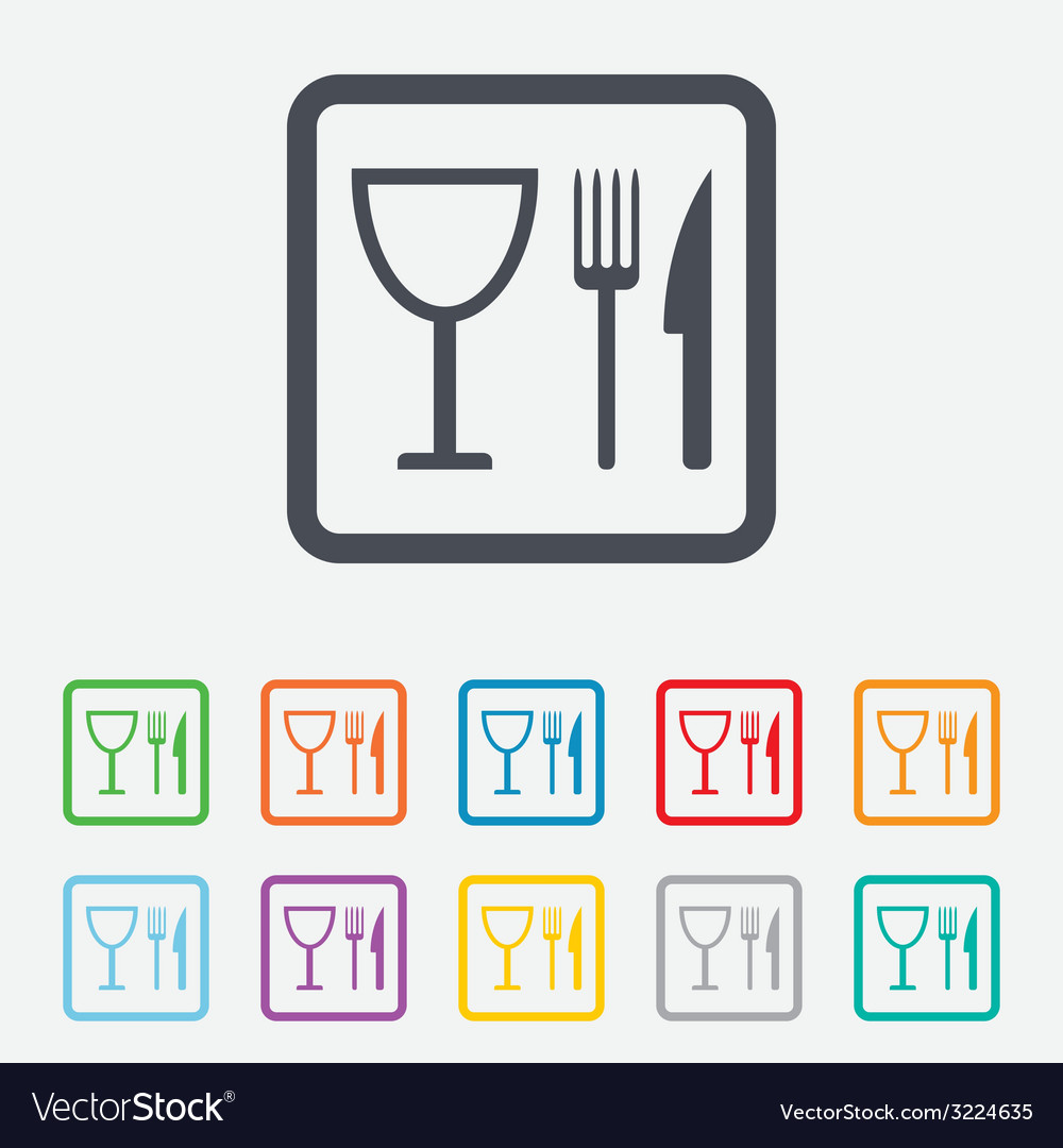 Eat sign icon knife fork and wineglass vector   Price: 1 Credit (USD $1)