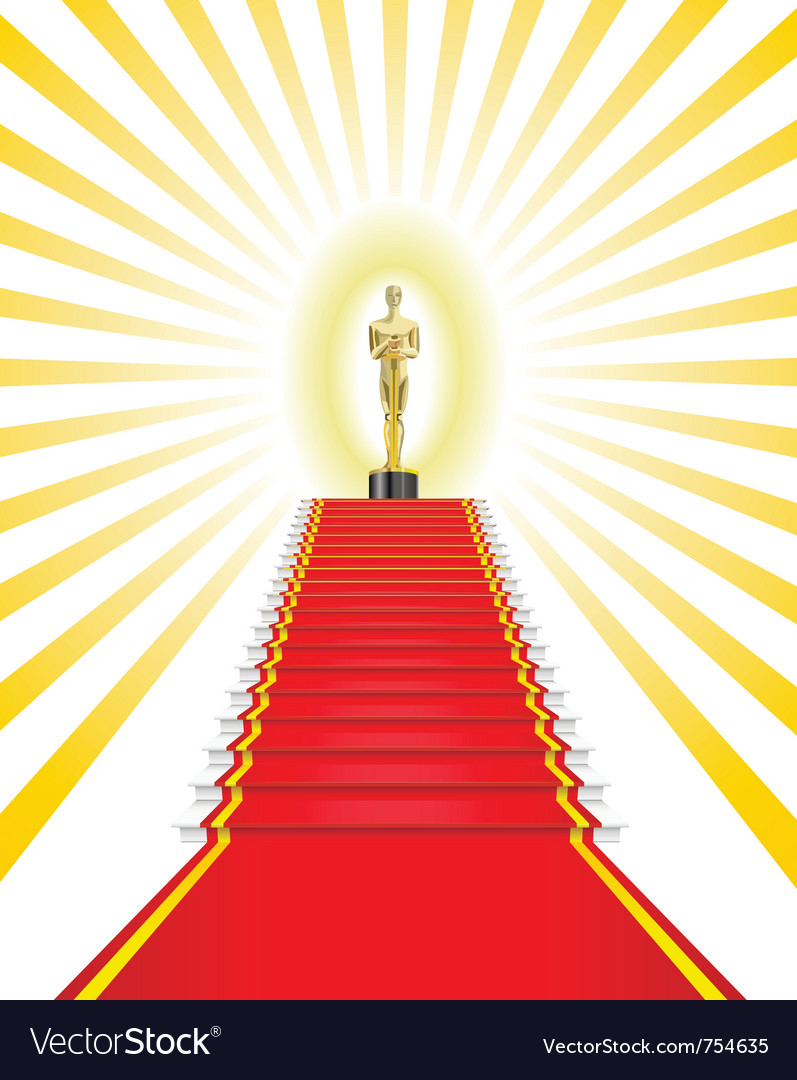 Golden statue red carpet vector | Price: 3 Credit (USD $3)