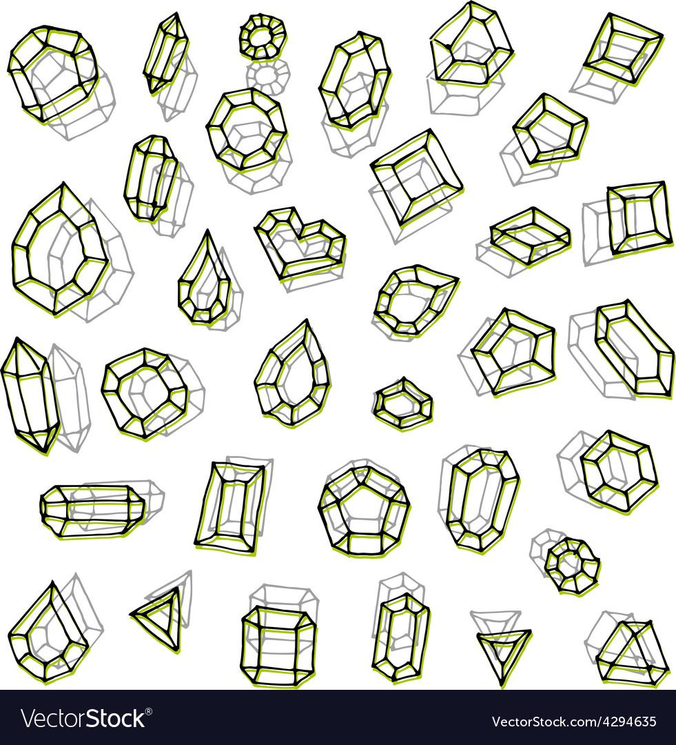 Hand drawn gemstones abstraction vector   Price: 1 Credit (USD $1)