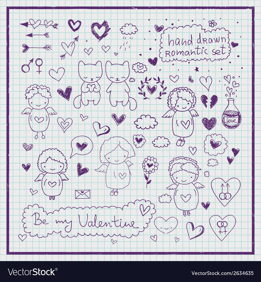 Hand drawn romantic set vector | Price: 1 Credit (USD $1)