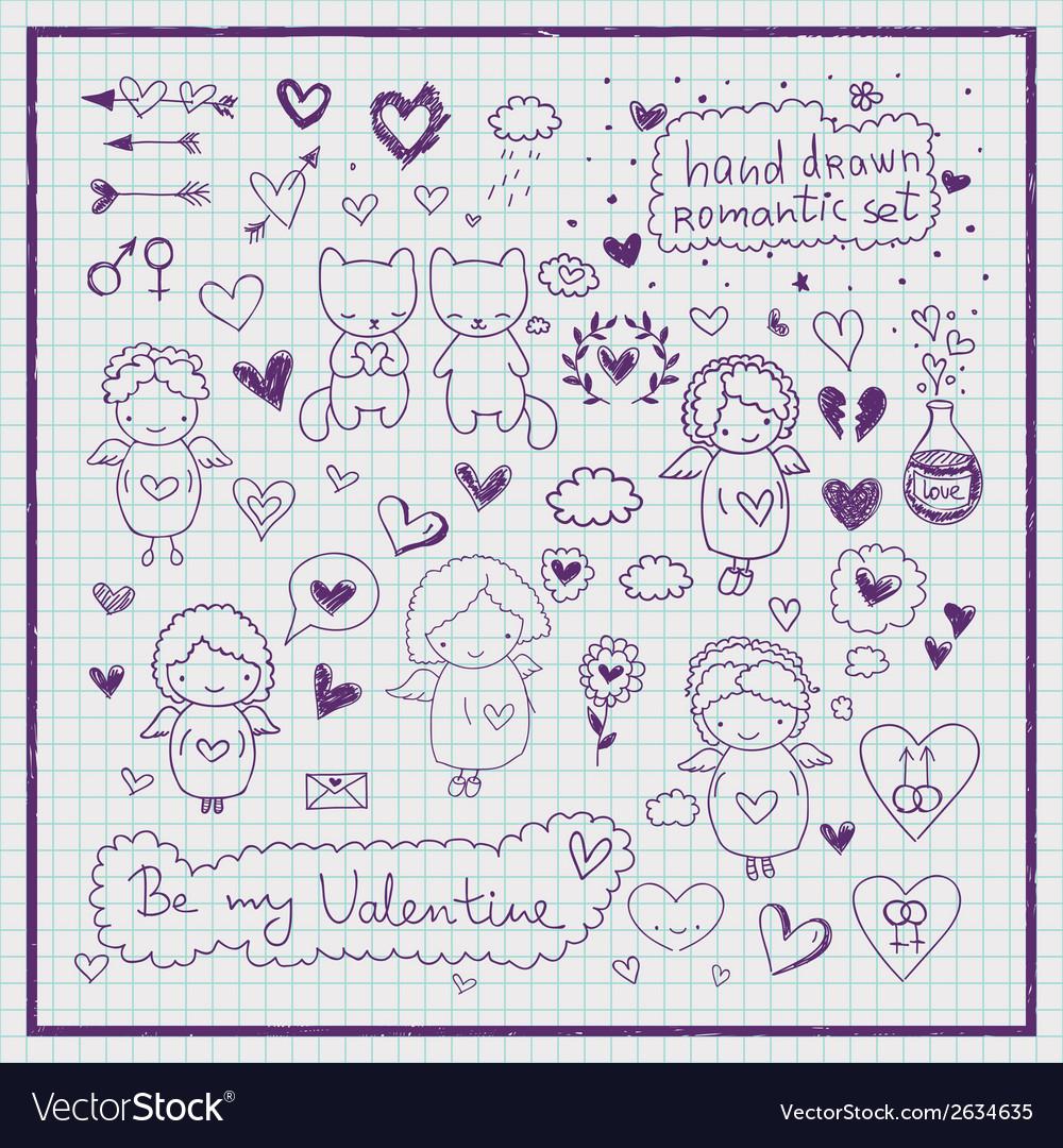 Hand drawn romantic set vector | Price: 1 Credit (USD $1)