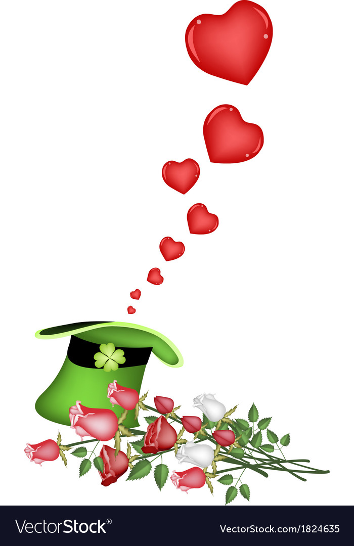 Many little hearts in a green hat vector | Price: 1 Credit (USD $1)