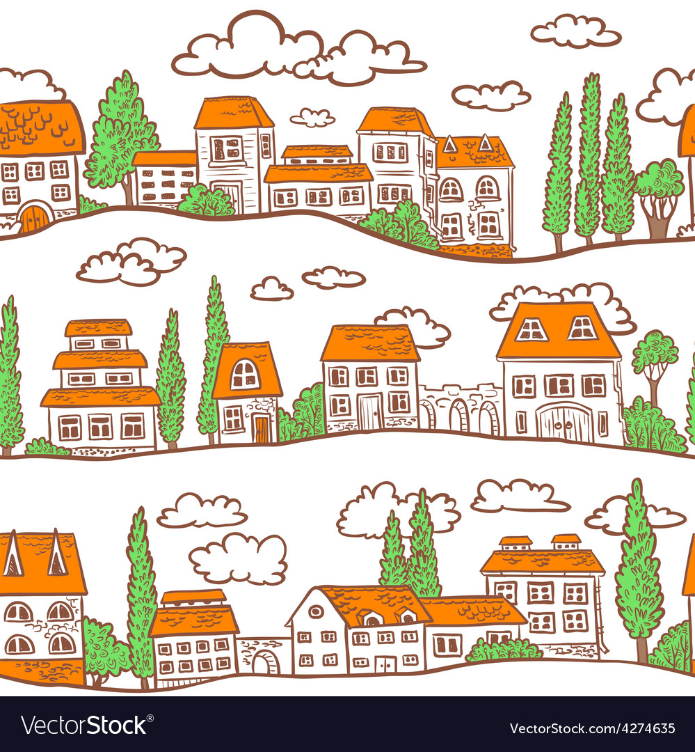 Pattern with houses vector | Price: 1 Credit (USD $1)
