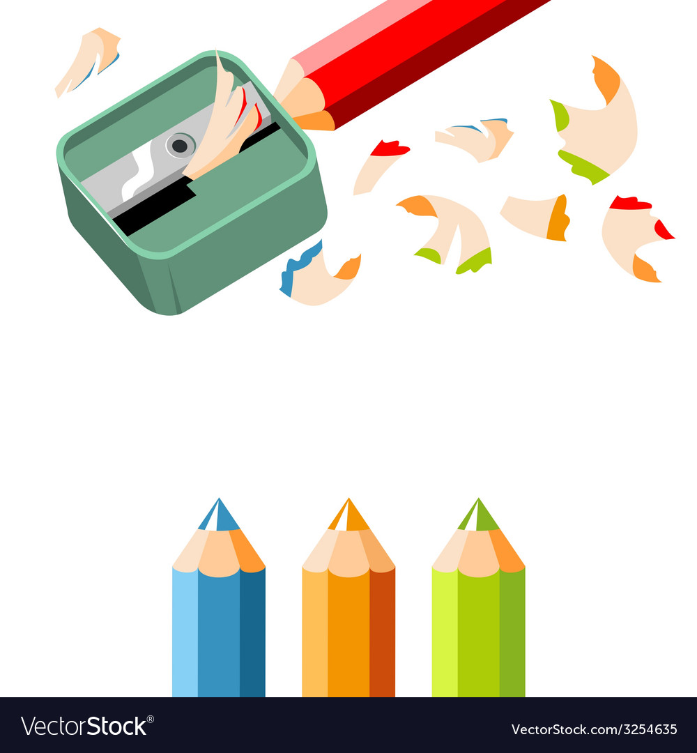 Pencil sharpener and colored pencils on white back vector | Price: 1 Credit (USD $1)