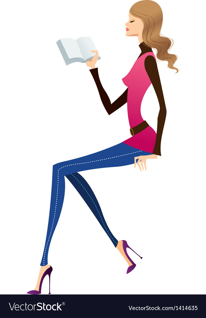Reading woman vector | Price: 1 Credit (USD $1)