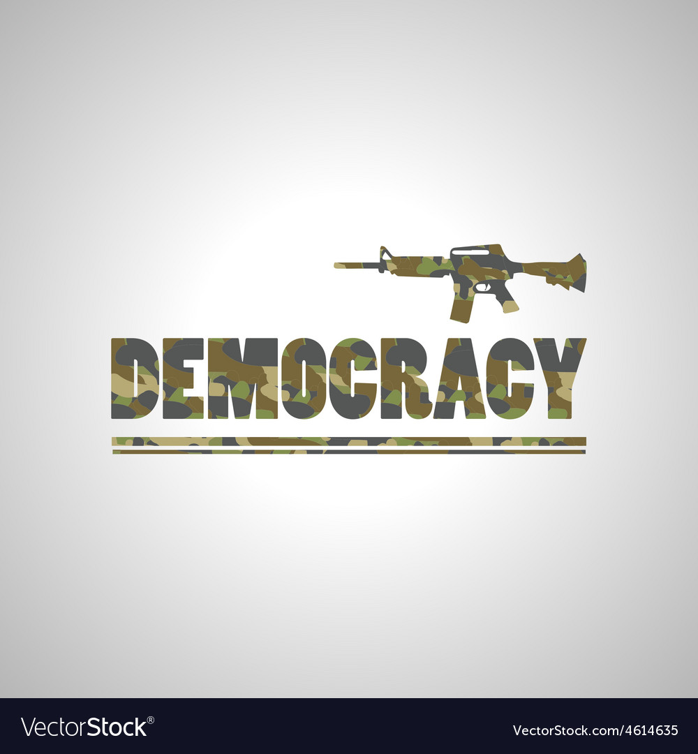 Soldier democracy green font on white background vector | Price: 1 Credit (USD $1)