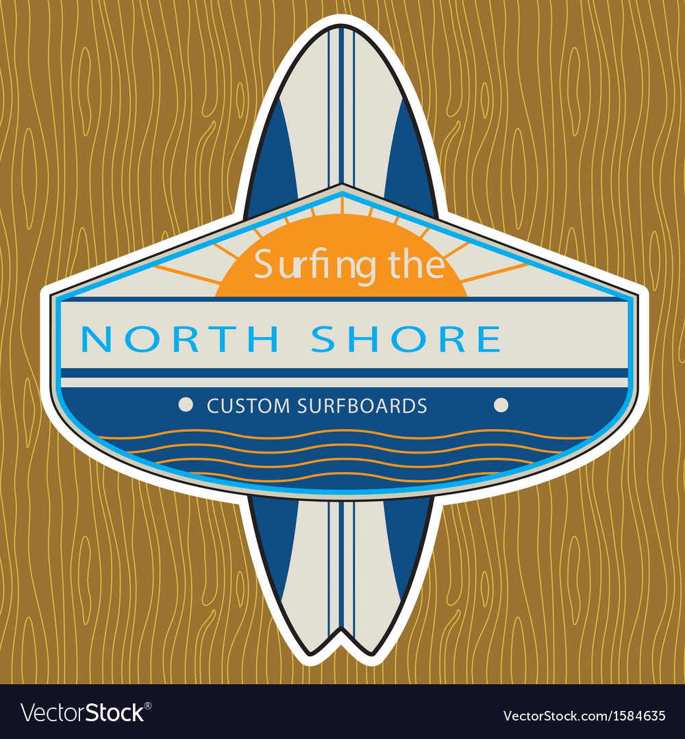 Surfer sticker north shore vector | Price: 1 Credit (USD $1)