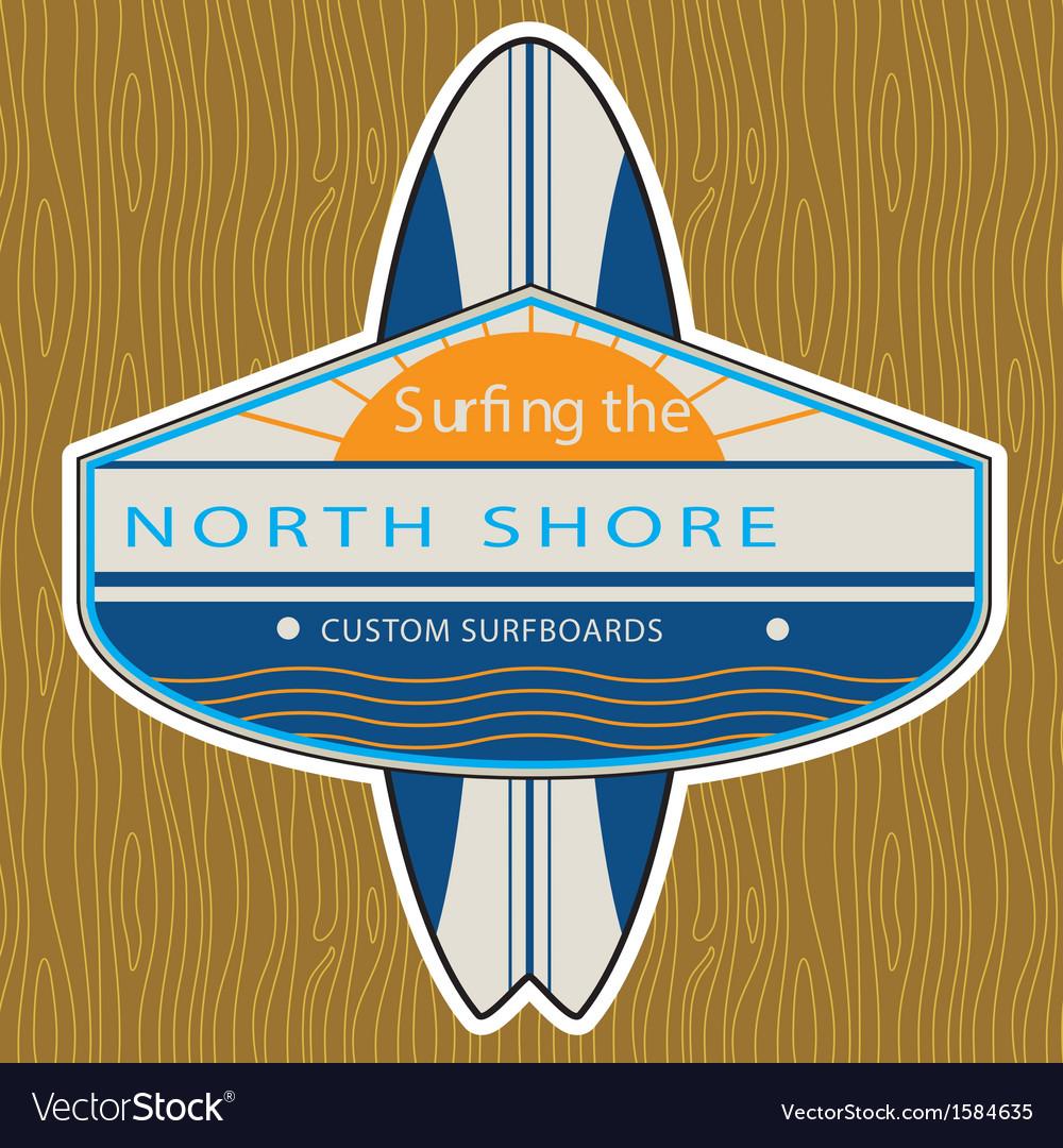 Surfer sticker north shore vector | Price: 1 Credit (USD $1)