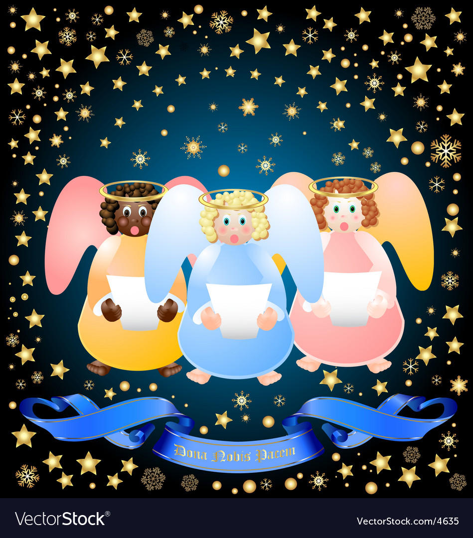 Three christmas angels vector | Price: 3 Credit (USD $3)