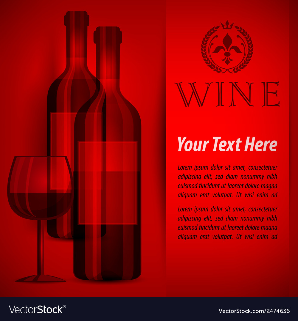 Bottles wine and glass on red vector | Price: 1 Credit (USD $1)