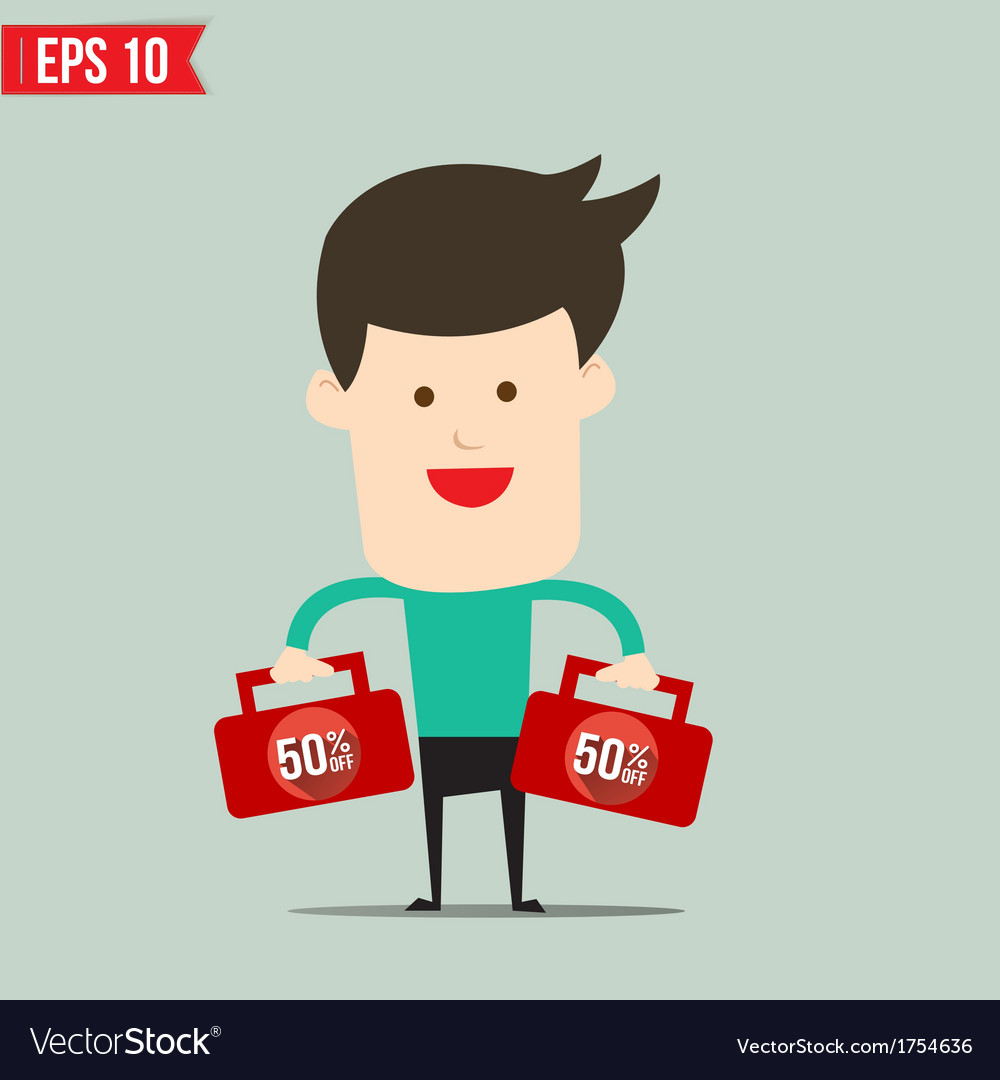 Businessman carry suitecase with 50 percent off - vector | Price: 1 Credit (USD $1)