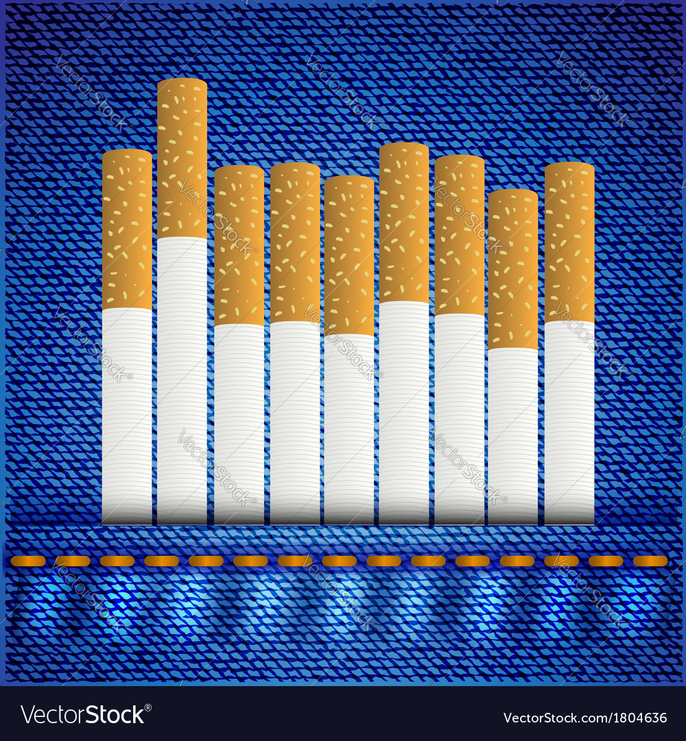 Cigarettes on jeans background vector | Price: 1 Credit (USD $1)