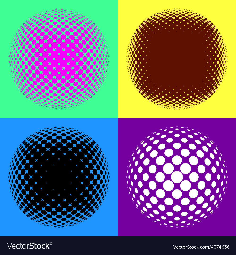 Colorful halftone design elements vector | Price: 1 Credit (USD $1)