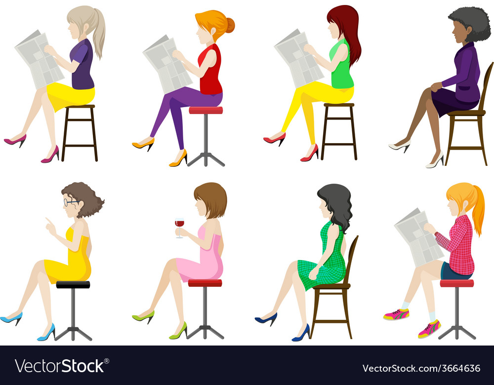 Eight faceless ladies sitting down vector | Price: 1 Credit (USD $1)