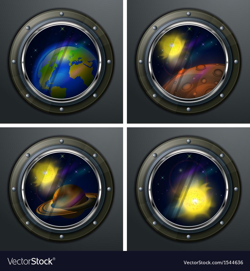 Four round portholes vector | Price: 3 Credit (USD $3)