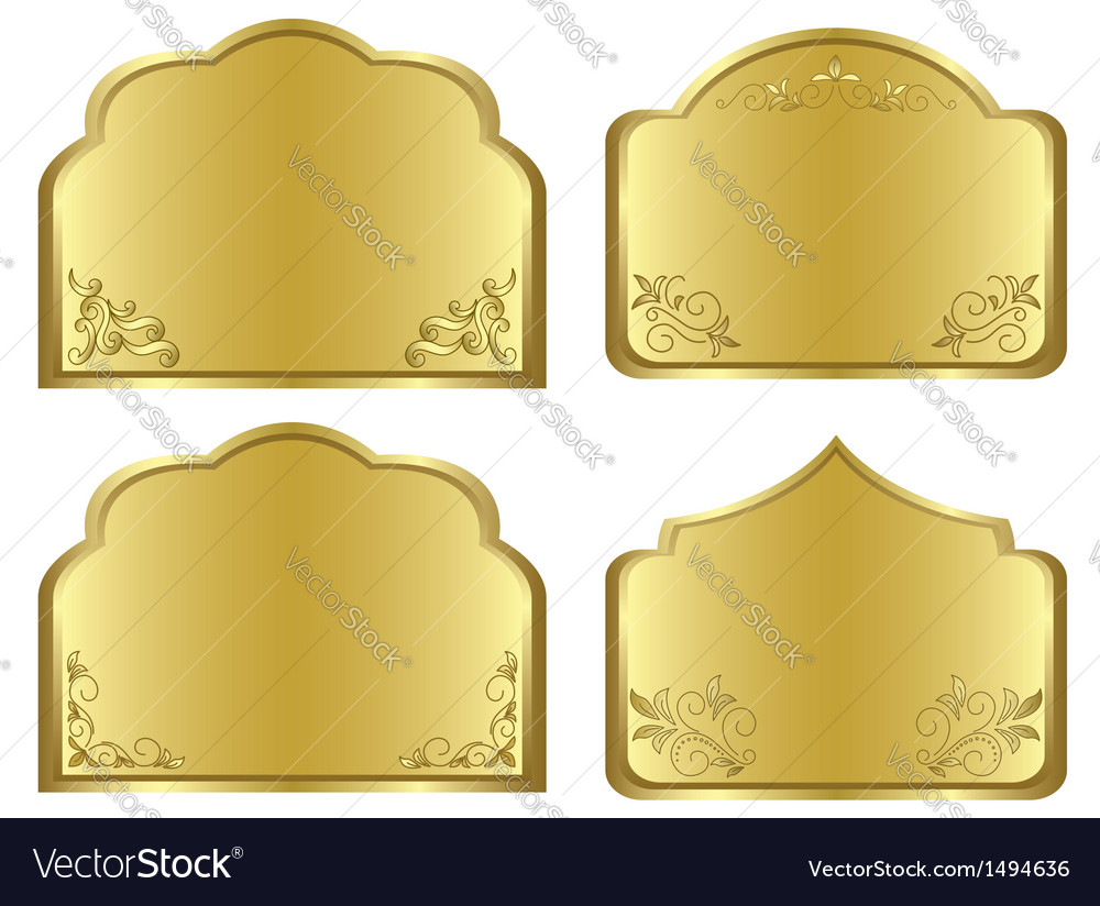 Gold frames with floral decoration vector   Price: 1 Credit (USD $1)