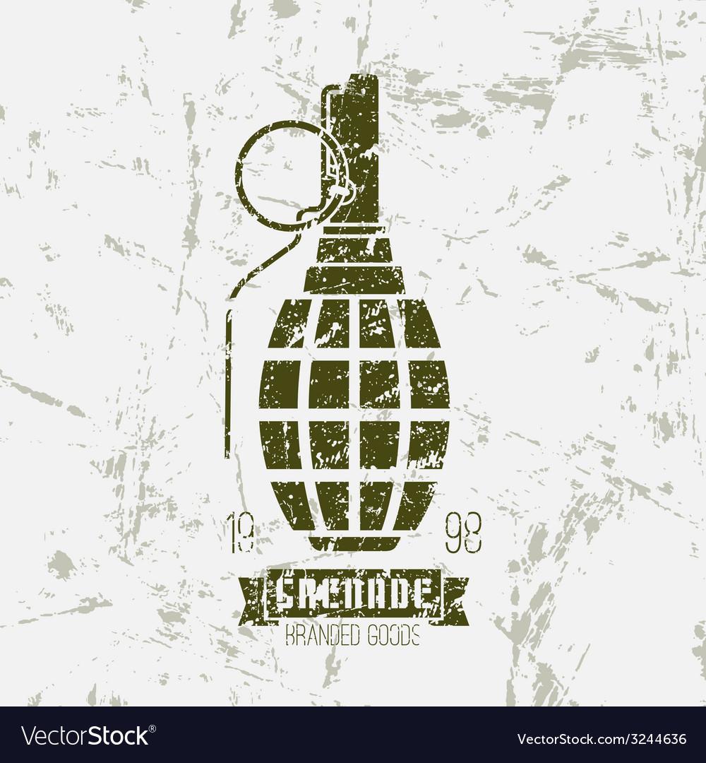 Hand grenade print vector | Price: 1 Credit (USD $1)