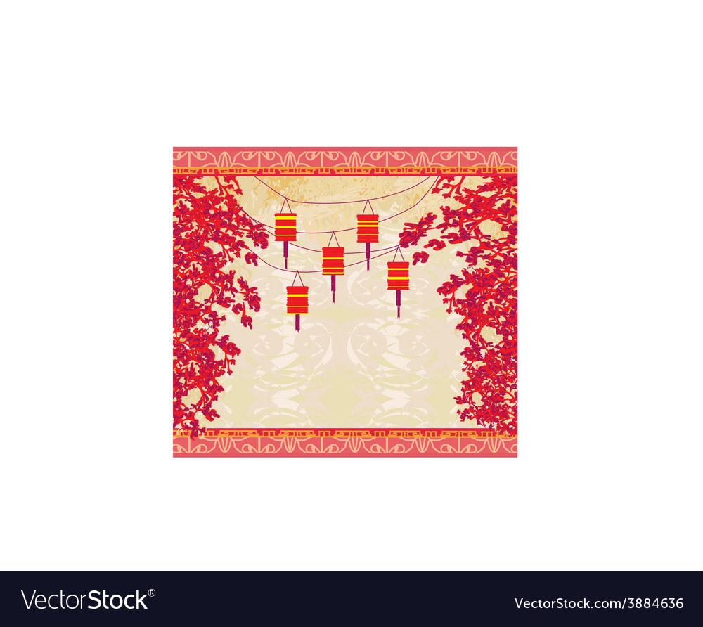 Lanterns will bring good luck and peace to prayer vector | Price: 1 Credit (USD $1)