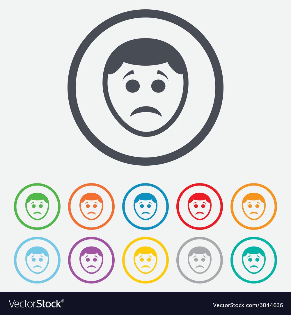 Sad face sign icon sadness symbol vector | Price: 1 Credit (USD $1)