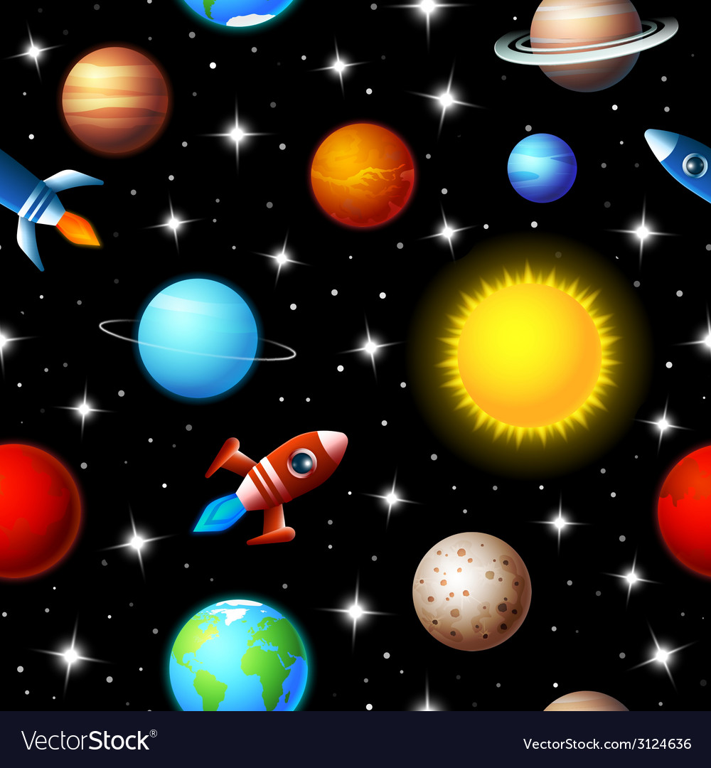 Seamless kids design of rockets and planets vector | Price: 1 Credit (USD $1)