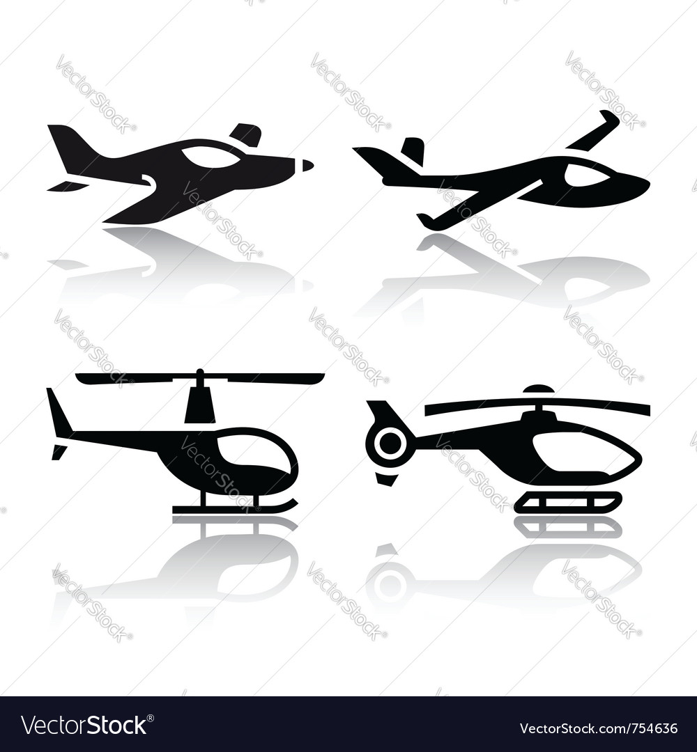Set of transport icons - airplane and helicopter vector | Price: 1 Credit (USD $1)