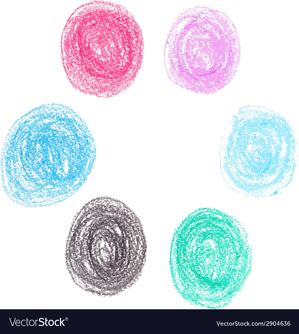 Set of wax crayon circle spots isolated on white vector   Price: 1 Credit (USD $1)