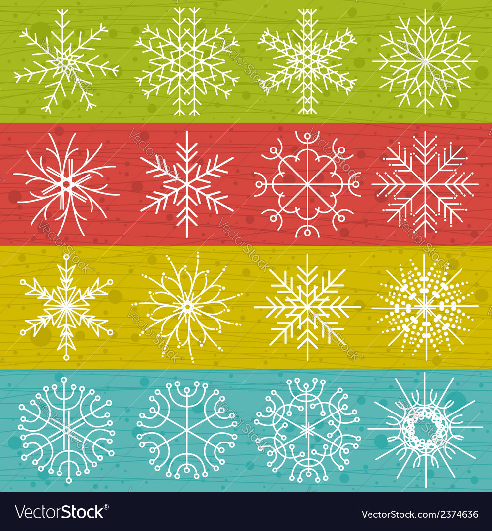 Snowflakes on color background vector | Price: 1 Credit (USD $1)