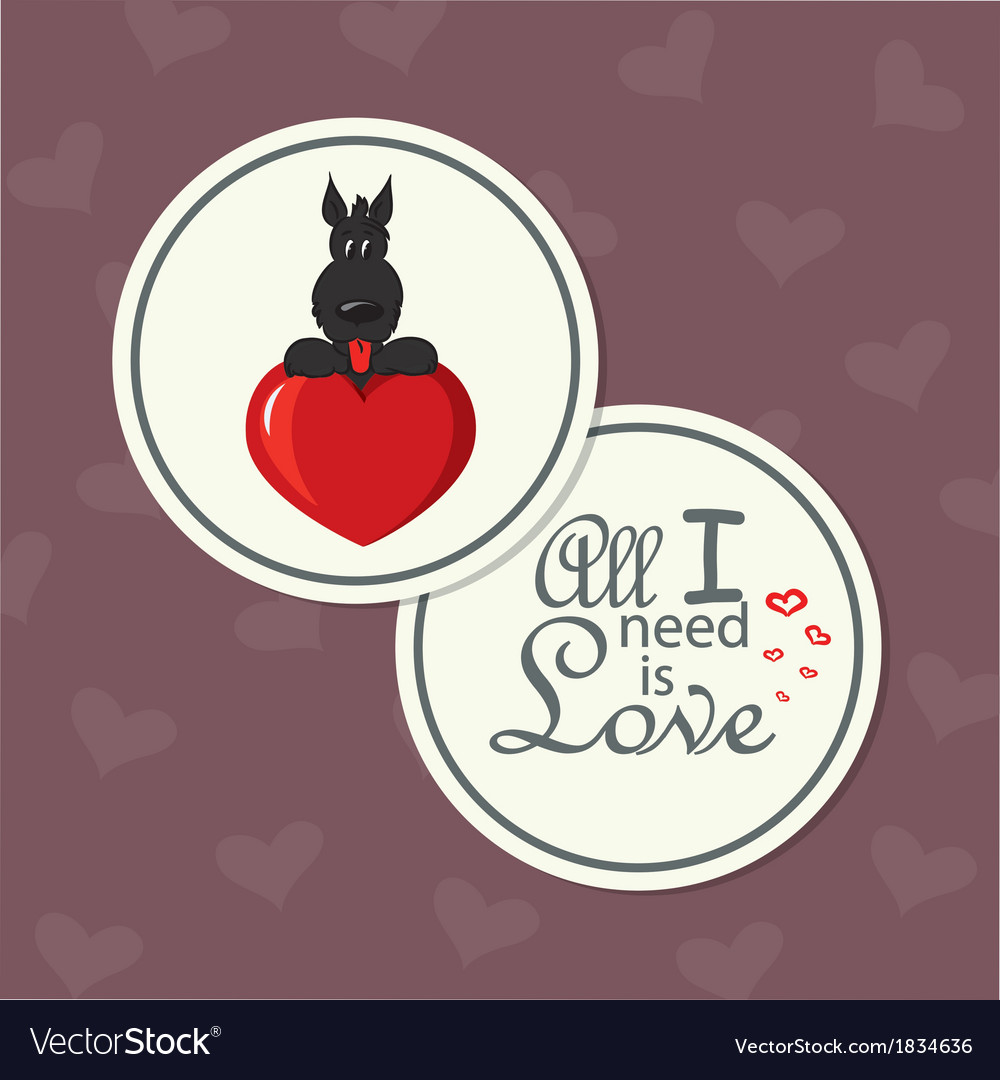 Valentine card with dog on heart vector | Price: 1 Credit (USD $1)