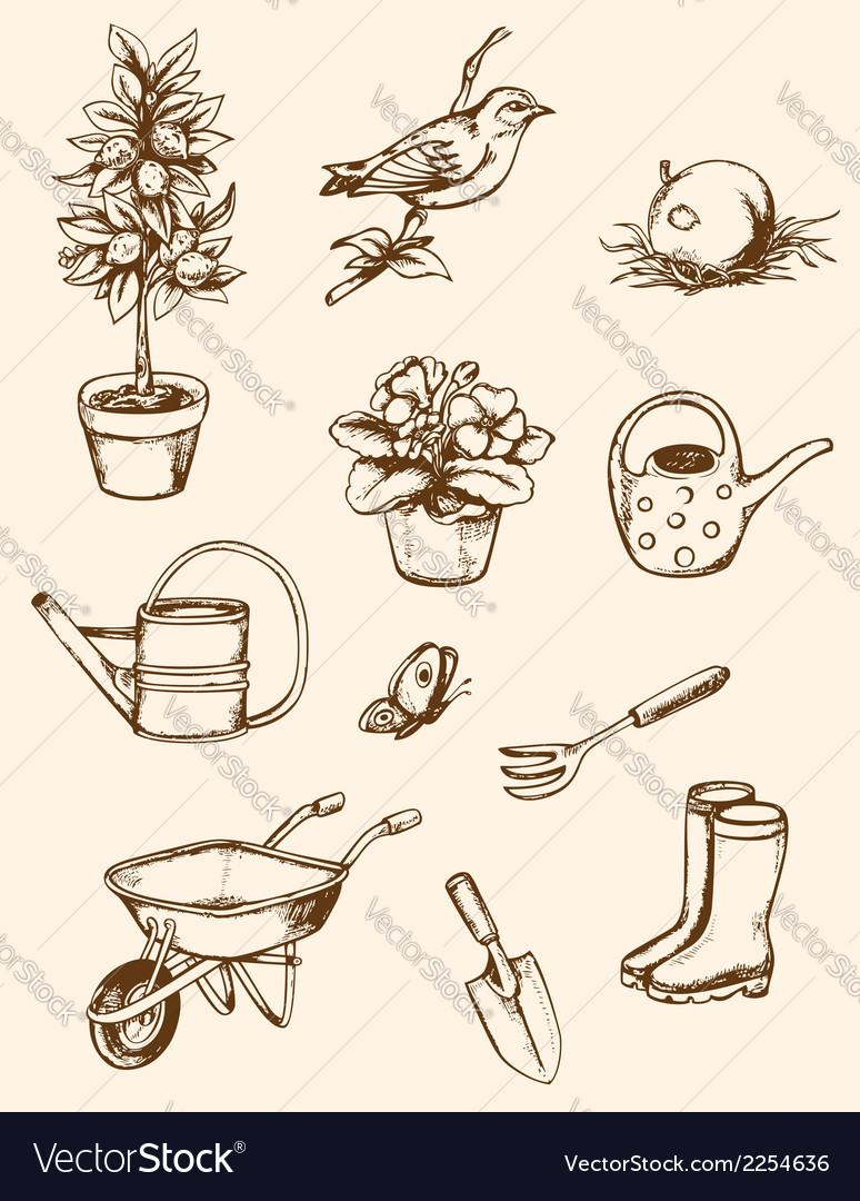 Vintage hand drawn garden tools vector | Price: 1 Credit (USD $1)
