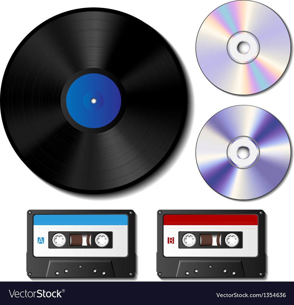 Vinyl record cd and cassette tape set vector | Price: 1 Credit (USD $1)