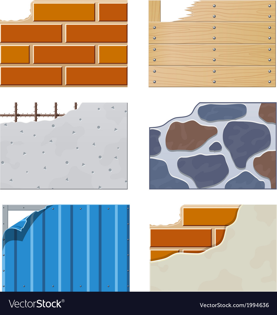 Wall set of building icons vector | Price: 1 Credit (USD $1)