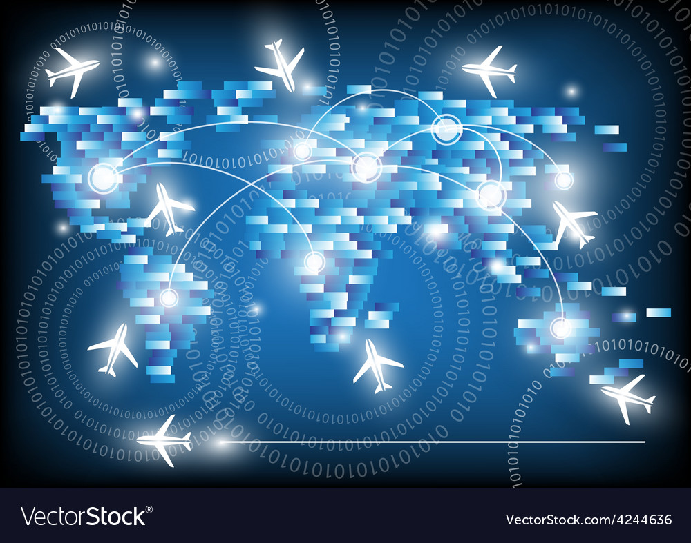 World travel map with airplanes vector | Price: 1 Credit (USD $1)