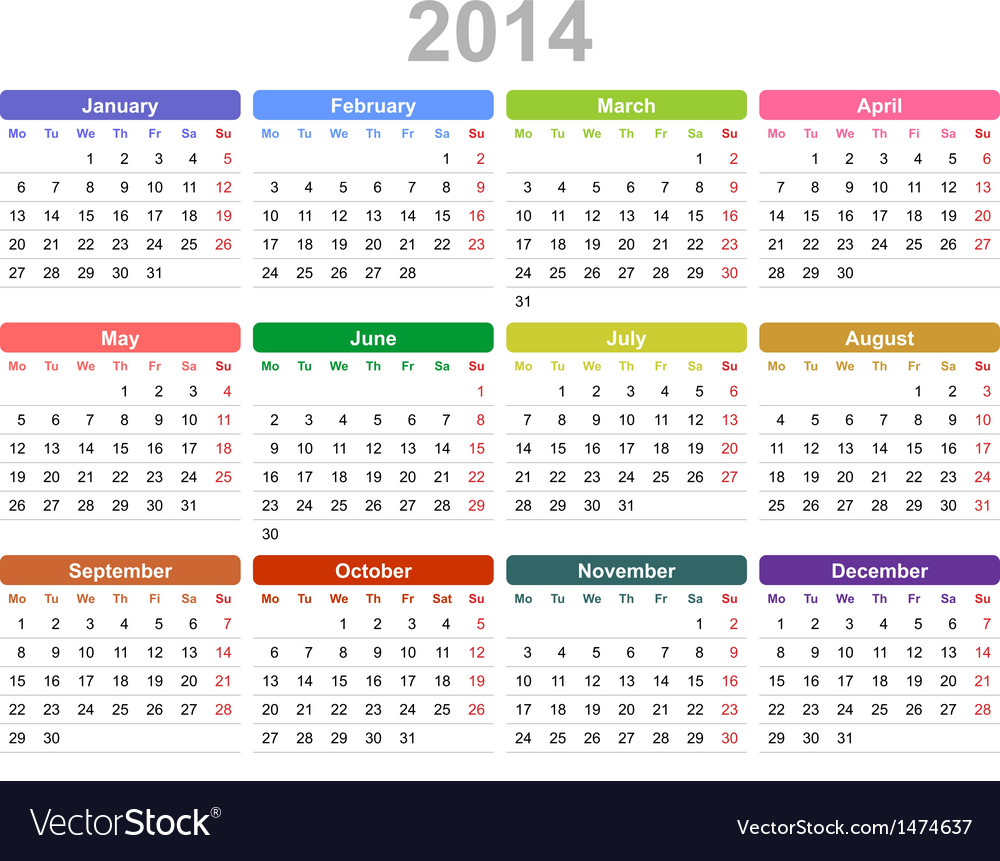 2014 year annual calendar monday first english vector | Price: 1 Credit (USD $1)
