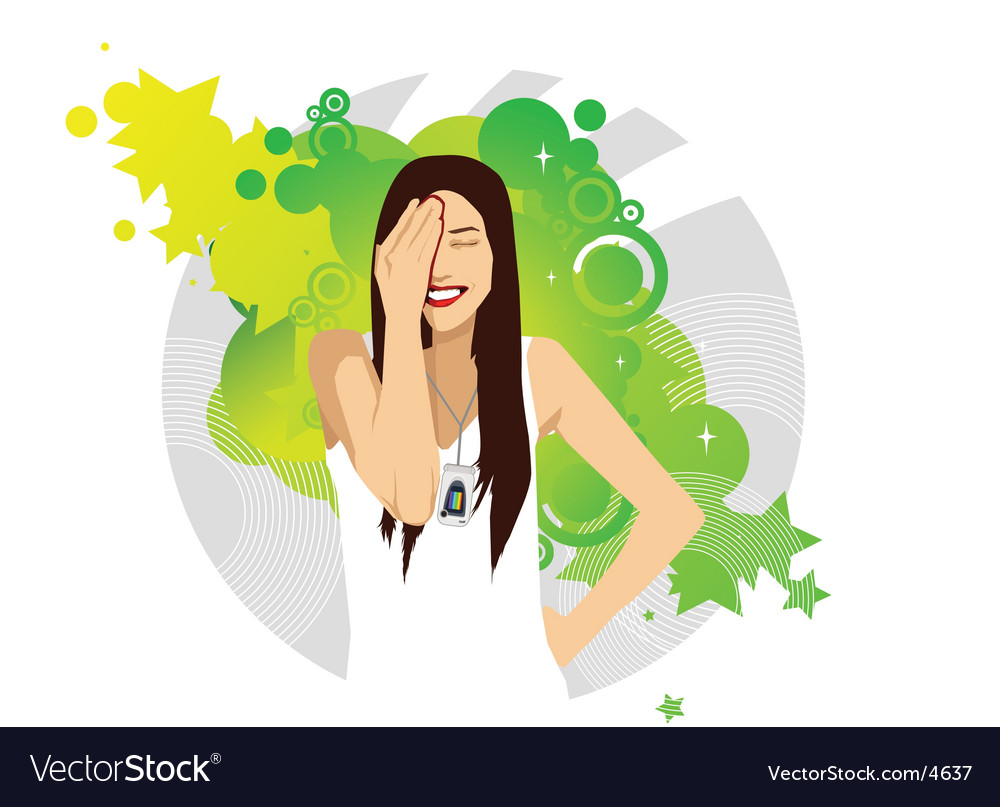 Attractive young girl with mobile vector | Price: 3 Credit (USD $3)