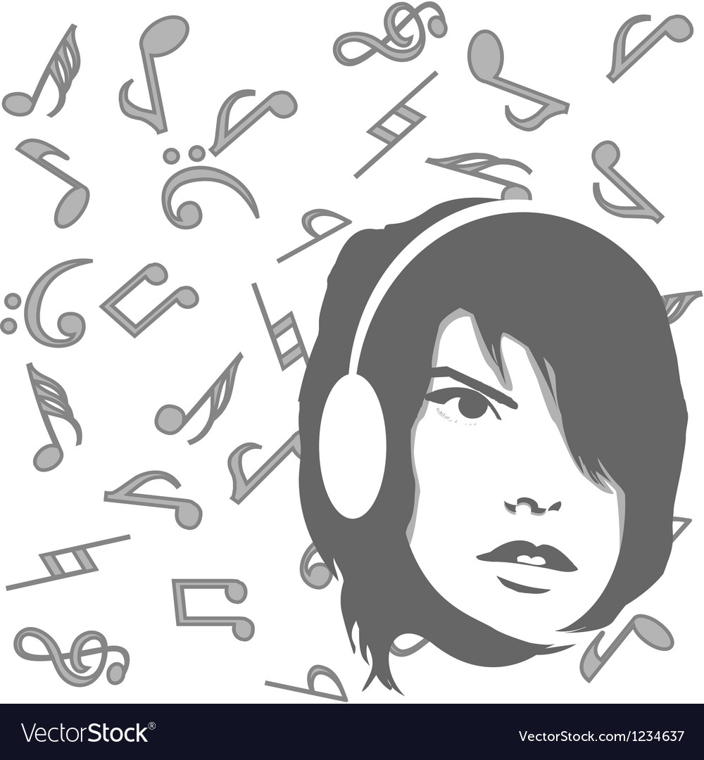 Background with girl listening to music vector | Price: 1 Credit (USD $1)