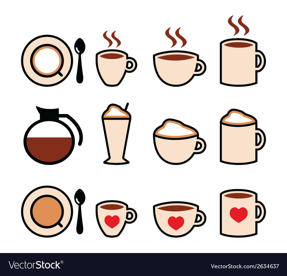 Coffee icons set in color vector | Price: 1 Credit (USD $1)