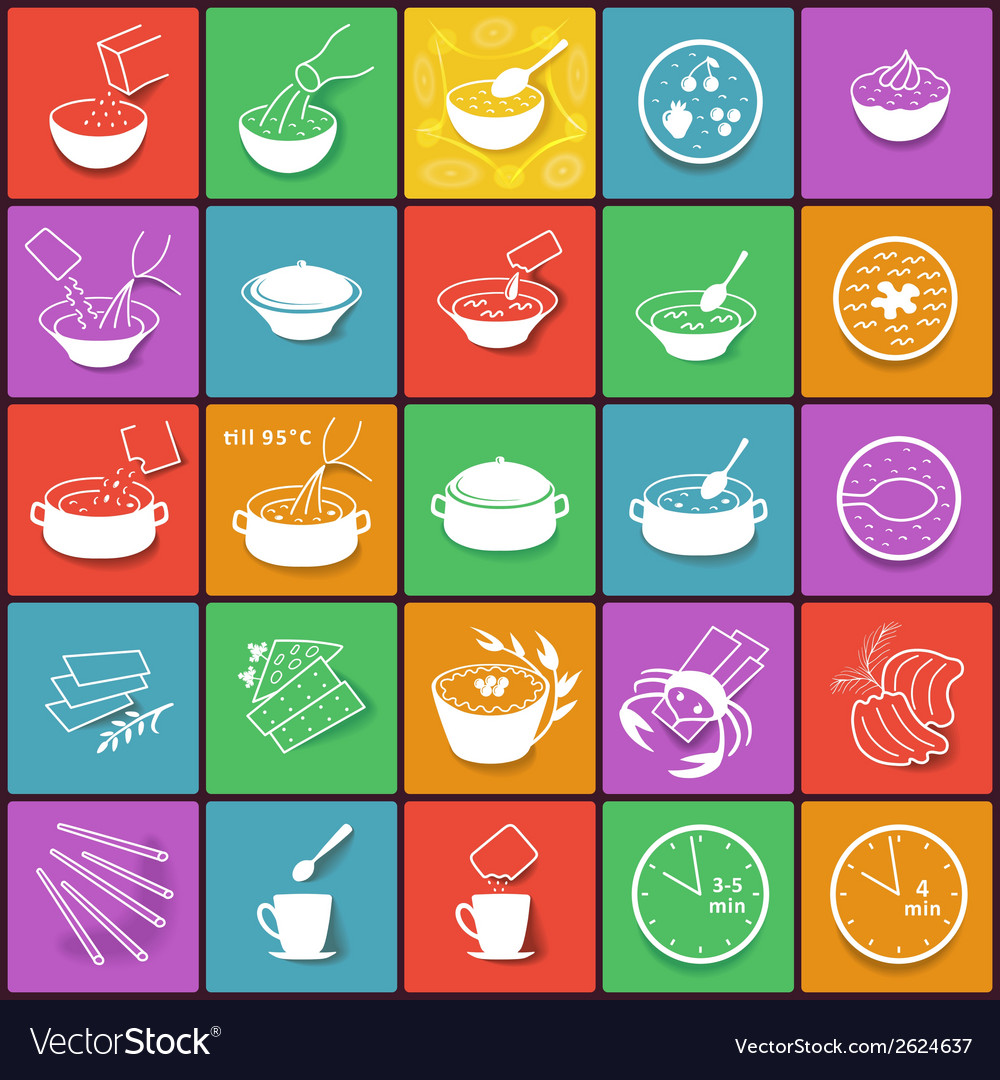 Flat fast food packaging cooking process icons set vector | Price: 1 Credit (USD $1)