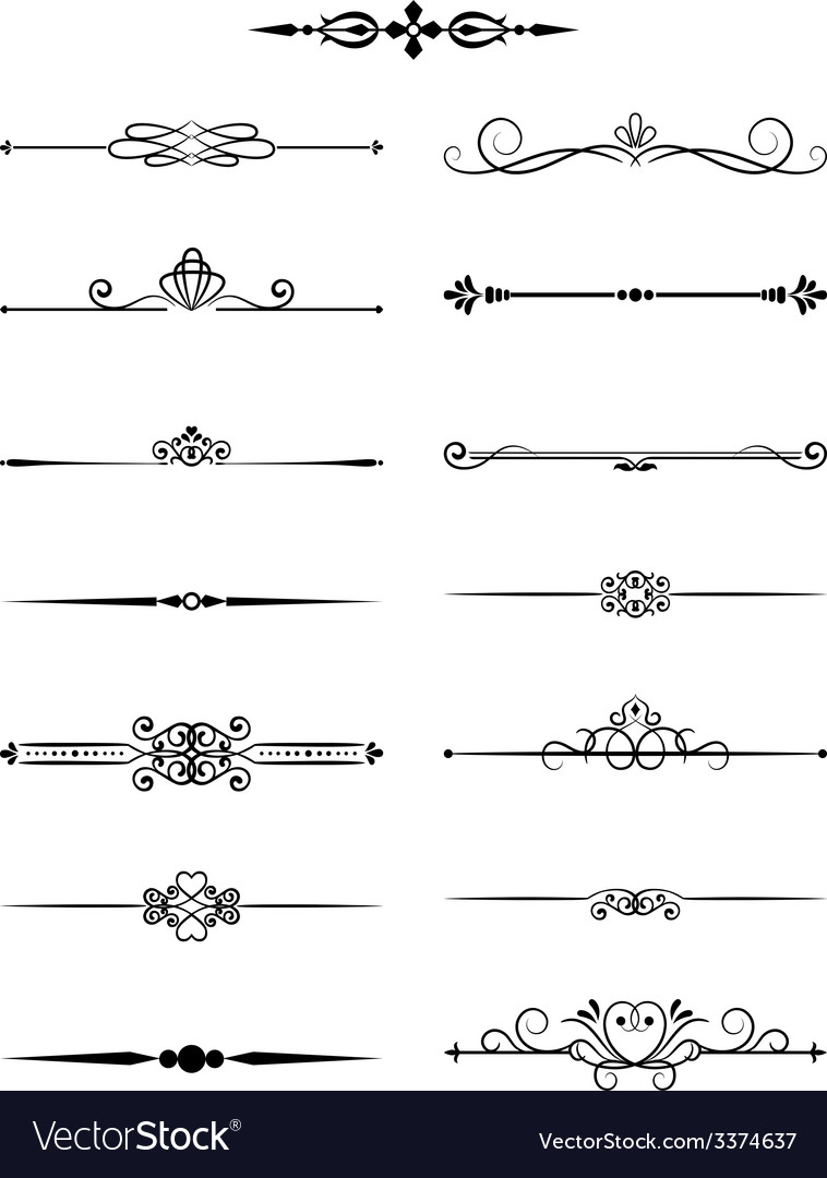 Floral vintage dividers elements for page decor vector | Price: 1 Credit (USD $1)