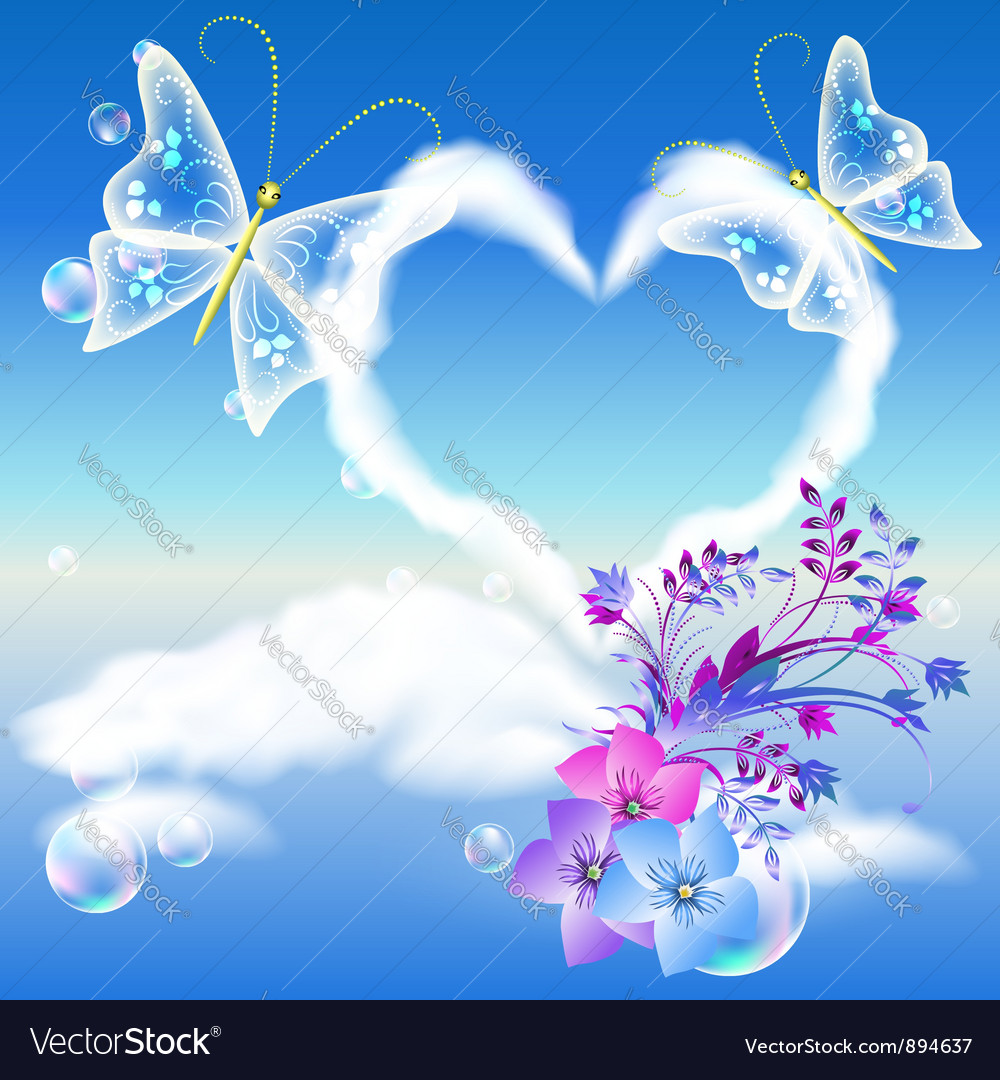 Heart cloud and butterflies vector | Price: 1 Credit (USD $1)