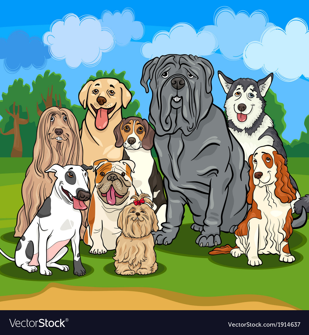 Purebred dogs cartoon vector | Price: 3 Credit (USD $3)