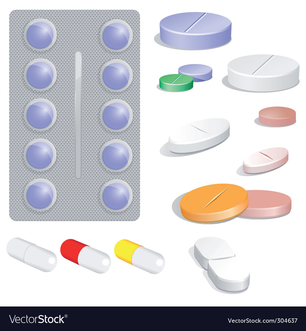 Set of pills vector | Price: 1 Credit (USD $1)