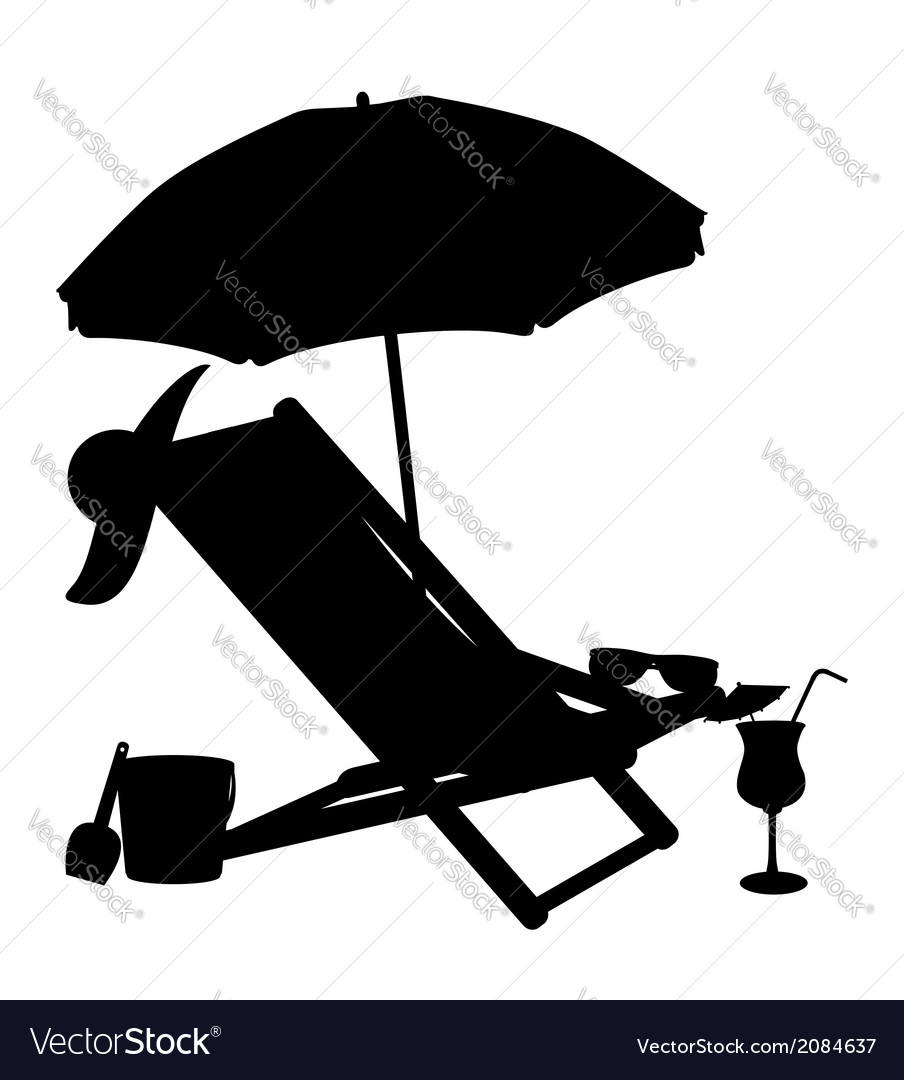 Silhouette of beach chairs and umbrellas vector | Price: 1 Credit (USD $1)