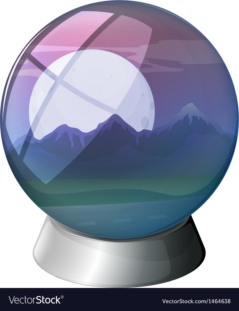 A dome with a full moon and mountains inside vector | Price: 1 Credit (USD $1)