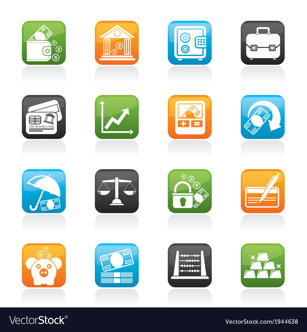 Business and bank icons vector | Price: 1 Credit (USD $1)