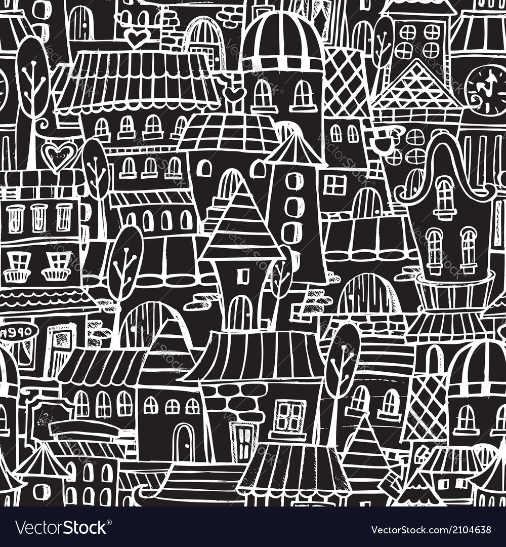 Cartoon fairy tale drawing houses seamless pattern vector | Price: 1 Credit (USD $1)