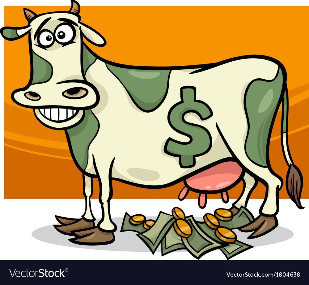 Cash cow saying cartoon vector | Price: 1 Credit (USD $1)