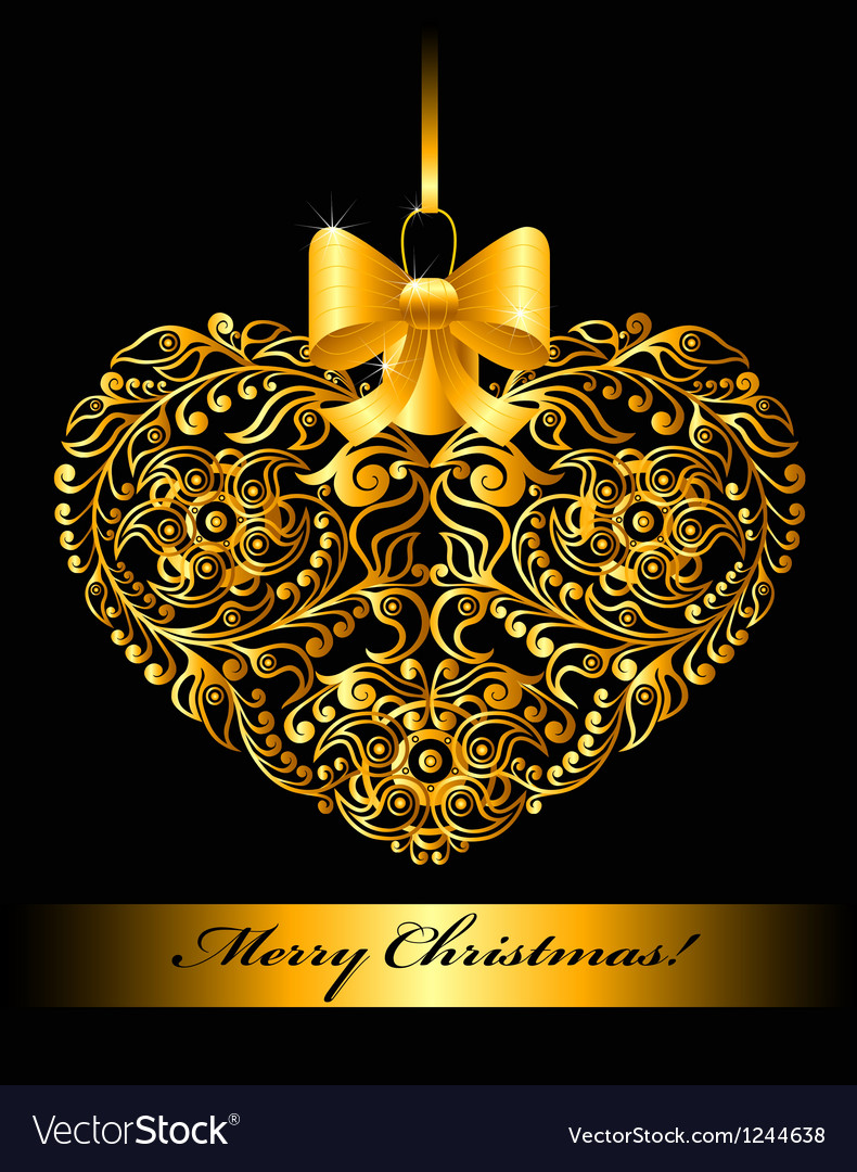Christmas card with patterned heart vector | Price: 1 Credit (USD $1)