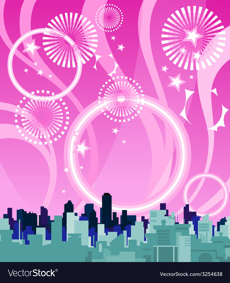 City on a background of pink sky with fireworks vector | Price: 1 Credit (USD $1)