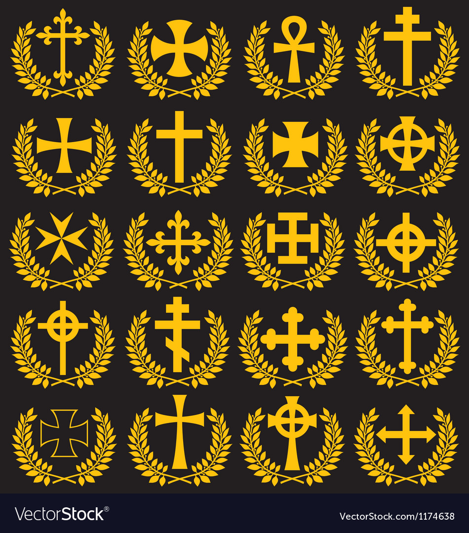 Cross collection with a laurel wreath vector | Price: 1 Credit (USD $1)